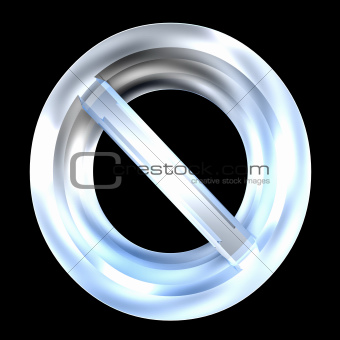 forbidden symbol in glass (3d)