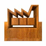 Manufacturer Building Icon on a White Background - 3d in wood