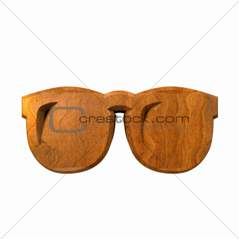 3d glasses in wood