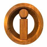 info symbol in wood (3d)