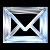 envelope email symbol in glass (3d)