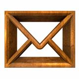 envelope email symbol in wood (3d) 