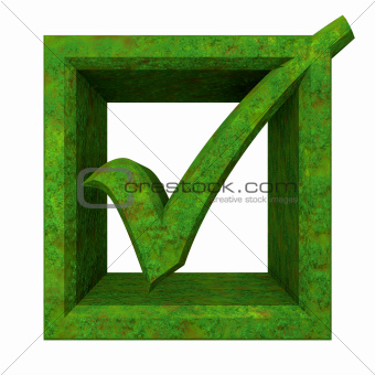 ok tick in green grass isolated - 3D 