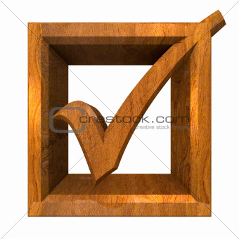 ok tick in wood isolated - 3D