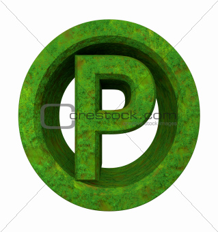 parking symbol in grass (3d)