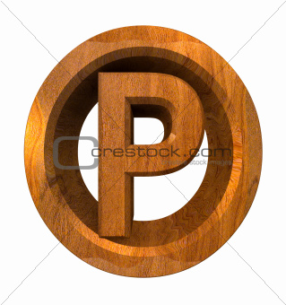 parking symbol in wood (3d)