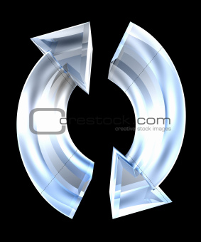 arrows symbol in glass - 3D