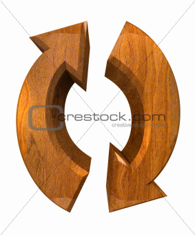 arrows symbol in wood - 3D