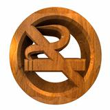 No smoking icon symbol in wood (3D)