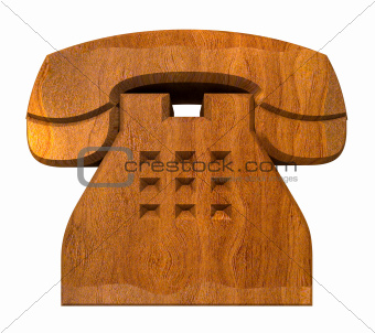 phone symbol in wood - 3D