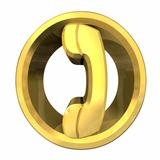 phone symbol in gold - 3D gold