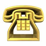 phone symbol in gold - 3D 