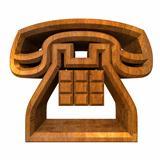 phone symbol in wood - 3D