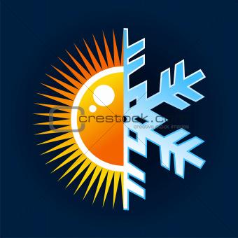 Hot and cold temperature symbol