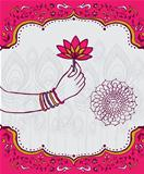 India lotus flower and woman hand background