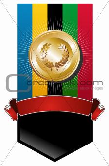 Olympic games golden medal banner