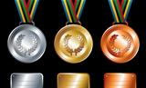 Gold, silver and bronze medals background
