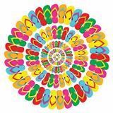 Summer multicolor flip flops mandala