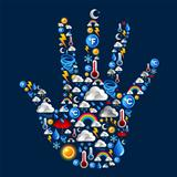 Weather Icons set in hand shape