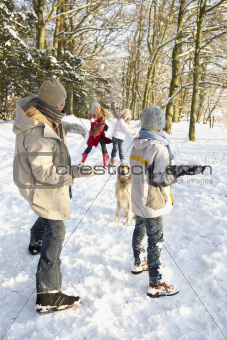 Family Having Snowball Fight In Snowy Woodland