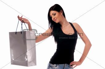 a woman in a dark blouse