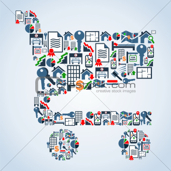 Property service icons shopping cart shape