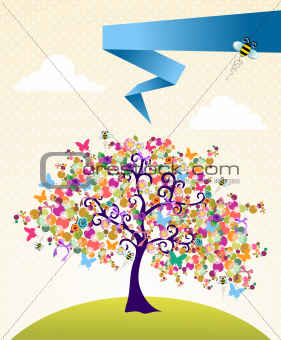 Abstract spring time tree landscape