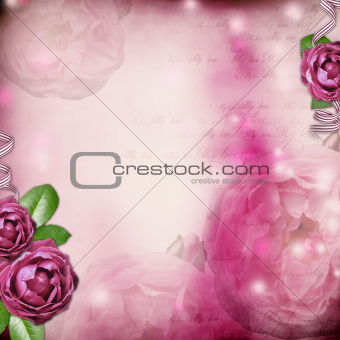Album page - romantic background with  rose, ribbon, text