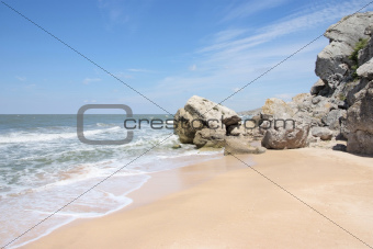 deserted beach in summer Crimea