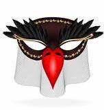 black half-mask of abstract bird