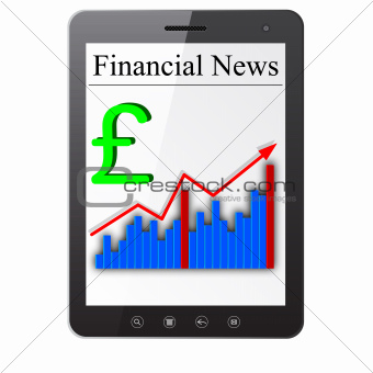 Financial News on Tablet PC. Isolated on white. Vector  illustra