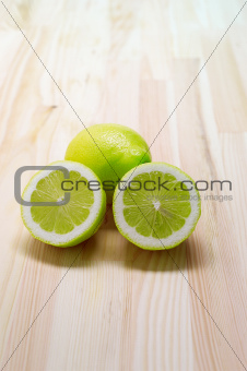 fresh lemon  over pinewood table