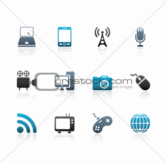 Blue and grey media icons