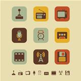 Retro media icons