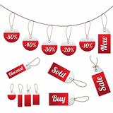 Red sales tags