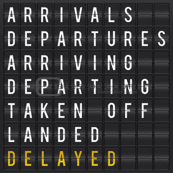 Airport departures and arrivals flip board