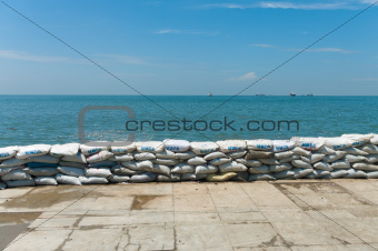 a wall of sandbags