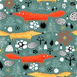 winter texture with foxes