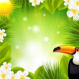 Green Background With Tropical Elements