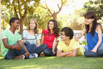 Group Of Teenagers Chatting Together In Park