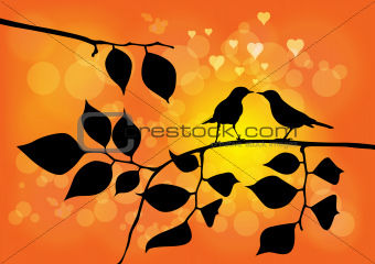 Love Birds on a Tree with Sunset in background - Vector Illustra
