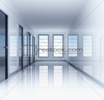 Clear and empty hall with doors and windows