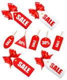 Big set of sales tags with red gift bow and ribbons illustration