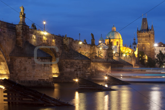 charles bridge and spires of the old town