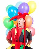 jester - entertaining figure in typical costume with colorful balloons