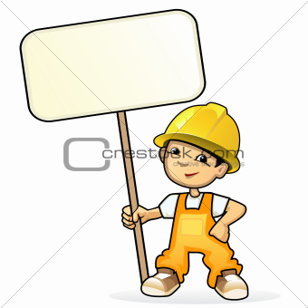 Young builder with sign