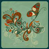 vector concept butterfly and abstract branch on crumpled paper