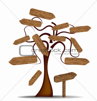 Tree with wooden signs