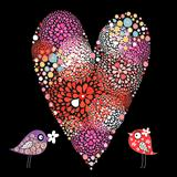 heart and love birds