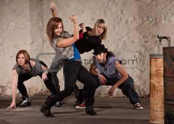 Pretty Dancer with Hip Hop Group